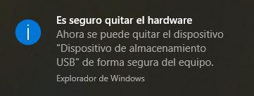 Ahora es seguro quitar el hardware